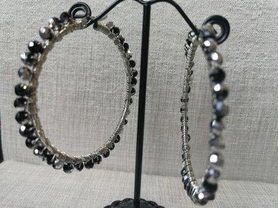 Orecchini moda 2020, in acciaio con cristalli neri