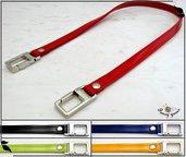 Manico per borsa 50 cm, doppia similpelle lucida impunturata, 5 colori a scelta