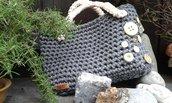 Borsa fettuccia cotone lycra crochet handmade Italy Sassi