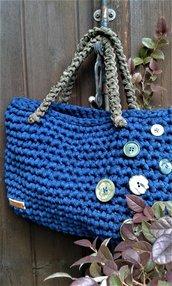 Borsa fettuccia cotone lycra crochet handmade Italy Fiordaliso