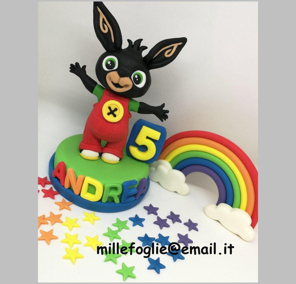 """Cake Topper/Decorazione torta """"B I N G"""" di zucchero+Arcobaleno"""
