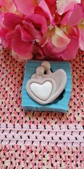 Stampo sposi  abbracciati stilizzati in gomma siliconica professionale da colata