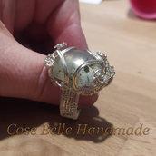 Anello in filo artistico placcato argento con agata denditrica
