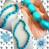 Collana girocollo corta con pietra azzurra in pasta di Turchese fatta a mano