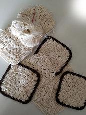5 Granny square, piastrelle uncinetto, copertina, cuscino, applicazioni, cotone biologico