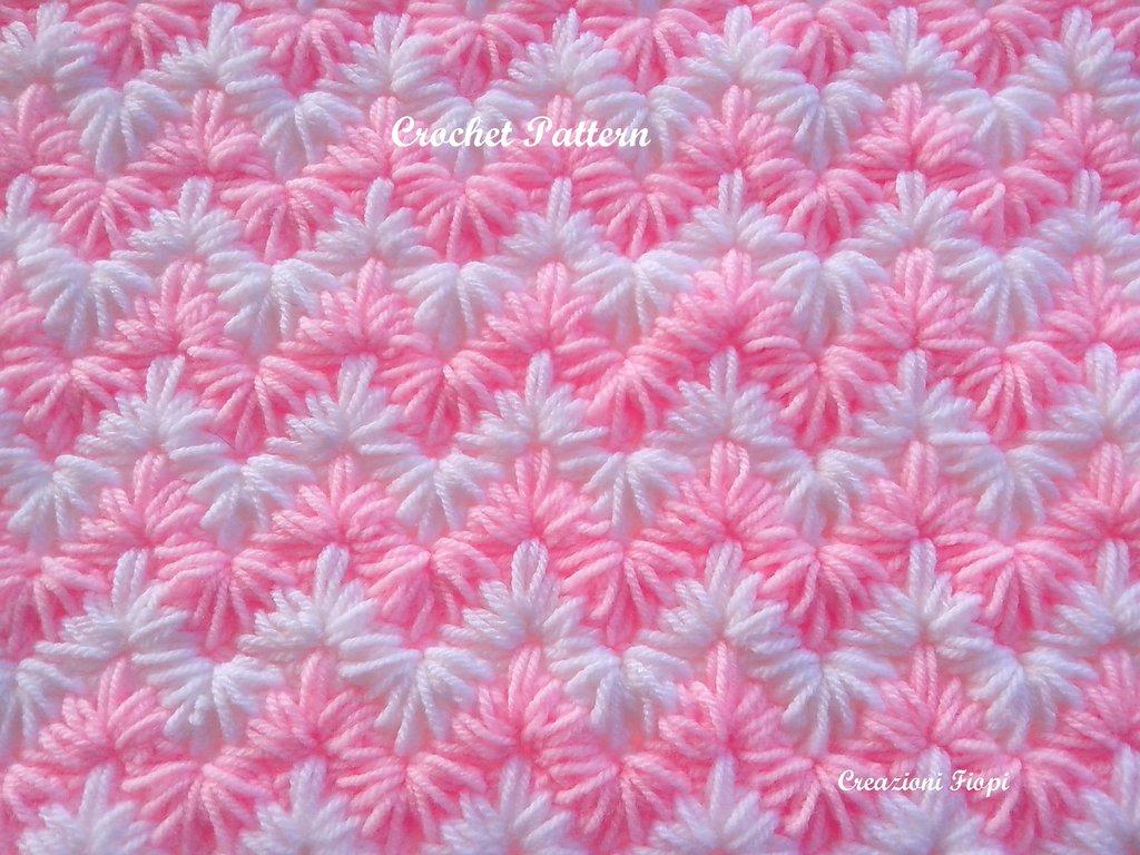 Top Uncinetto Schema Copertina neonato culla / punto zigzag puff WL91