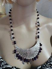 Collana viola e argento