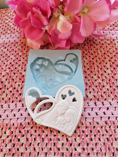Stampo cuore icona Sacra Famiglia gomma siliconica