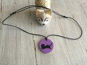 Collana gatto in legno