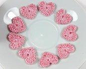 10 Mini Cuori rosa a uncinetto per applicazioni / Set di 10 cuori /Scrapbooking / applicazioni fatti a mano micro cuori