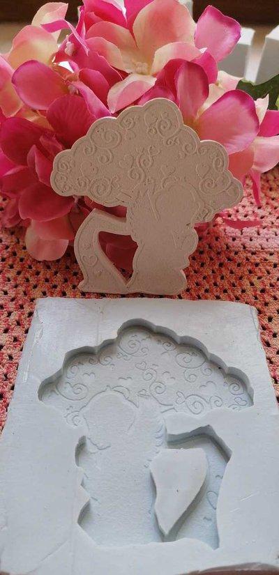 Stampo albero della vita con angelo in gomma siliconica professionale da colata