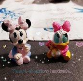 Minnie e paperina in ceramica bomboniere nascita battesimo
