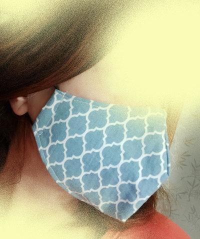 Mascherina viso con tasca per filtro, mascherina facciale con elastici, mascherina triplo strato cotone