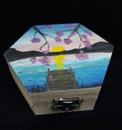 Cofanetto in legno dipinto a mano - paesaggio al tramonto