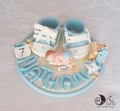 cake topper scarpette con orsetto, bebè e dati nascita personalizzati