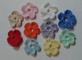 Mini Fiori a uncinetto per applicazioni Set di 10 fiori mixed.