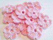 Mini Fiori a uncinetto per applicazioni / Set di 10 fiori / Fiori rosa