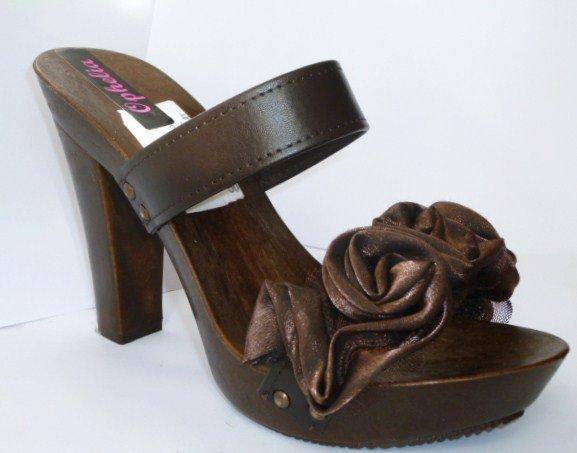Brown Rosette - sandali fatti a mano