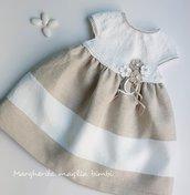 Abito neonata/bambina- cotone  e lino bianco e ecru- fiori - Battesimo