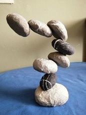 scultura  zen, cartapesta,sassi idea regalo per amanti di yoga,sassi di mare
