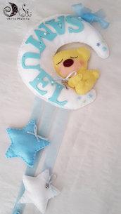 fiocco nascita luna e stelle con orsetto custode dei sogni per bimbo bianco e azzurro