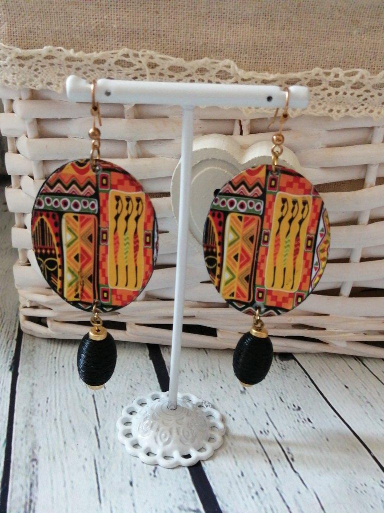 Orecchini gioielli di carta. Pietra nera Stile Africa Tribale