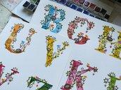 Alfabeto ad acquerello, clipart, dipinto a mano