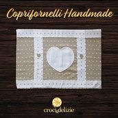 Coprifornelli coprifornello copri fornelli 5 6 fuochi ricamabile cuori in tela aida da ricamare a punto croce