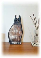 Gatto, oggetto decorativo in legno riciclato