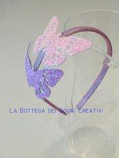 Cerchietto con farfalle glitterate