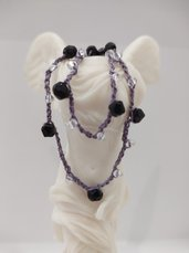 Collana donna fatta a mano collana lunga collana cotone collana con cristalli collana nera