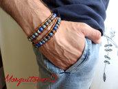 Bracciale uomo donna 2 giri con perle in pietra Diaspro Imperiale BLU e cuoio chanluu avvolgente stile etnico