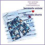 cartamodello pdf  bermuda unisex da taglia 2 a 12 anni con istruzioni