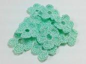 Mini Fiori a uncinetto per applicazioni Set di 10 fiori Verde acqua.