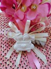 Sposi - sposini nozze d'argento 25 anni matrimonio o in auto in gesso ceramico profumato su scatolina pvc