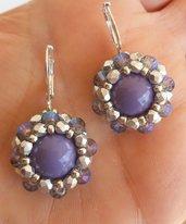 Orecchini piccoli viola e argento