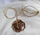 Collana Ciondolo Pendente in Terracotta Fatta a mano Ciondola a forma di fiore Dipinta a mano