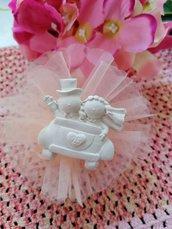 Sposi - sposini  - nozze argento 25 anni matrimonio  in gesso ceramico profumato su tulle
