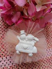 Sposi - sposini  - nozze oro 50 anni matrimonio  in gesso ceramico profumato su tulle