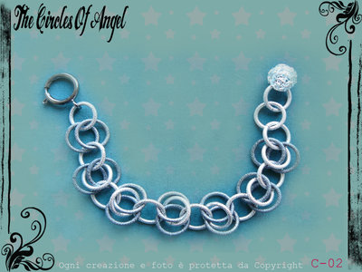 Bracciale in chainmail argento/grigio