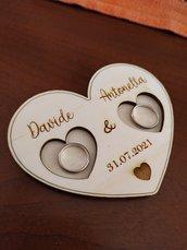Portafedi in legno, porta fedi, matrimonio, wedding, anelli nuziali, SPEDIZIONE GRATUITA