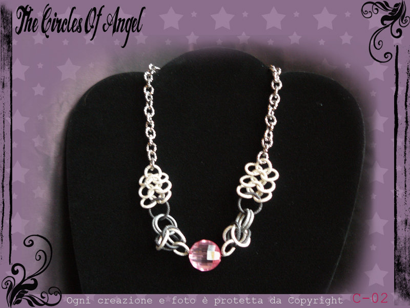 Collana in Chainmail bicolore argento/antracite e perla sfaccettata rosa