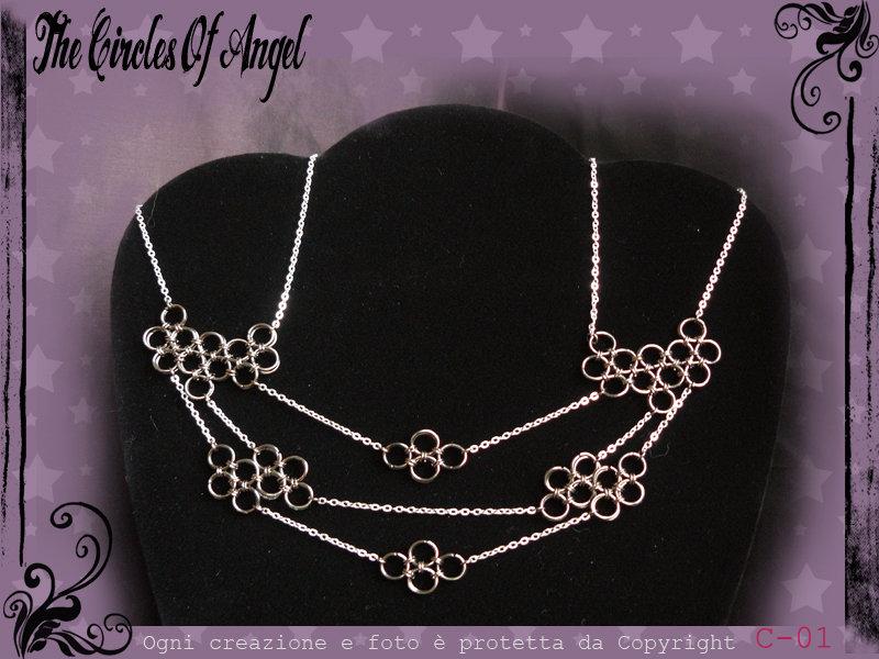 Collana in Chainmail bicolore argento/antracite