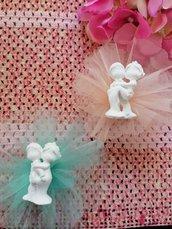 Sposi - sposini  - coppia in gesso ceramico profumato su tulle