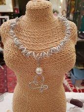 Collana girocollo regolabile in acciaio, alluminio e perla