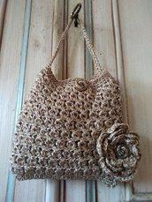 Borsetta uncinetto oro, pochette uncinetto, borsetta a mano da sera, borsa elegante, borsa piccola