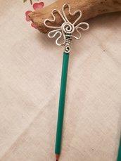 Matita - Spillone/bastoncino per capelli in alluminio battuto intercambiabile