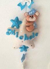 fiocco nascita coccarda nascita pannolenci personalizzato orsetto stelle cameretta nascita maschietto azzuro