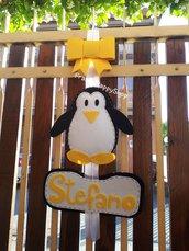 Fiocco nascita fatto a mano personalizzato bambino bambina fuoriporta baby-shower cameretta bambini nome pinguino pannolenci feltro neutro nero e bianco,fiocco rosa bimba,fiocco neutro giallo,personalizzato