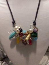 collana con centrale multi colori